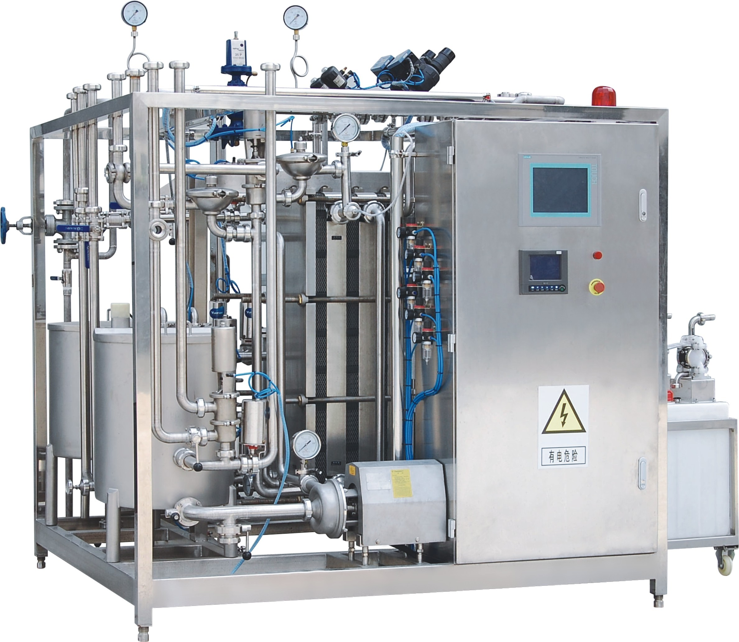 High Heat Treatment SUS 304 Plate Milk Sterilizer Machine / Milk Pasteurization Machine
